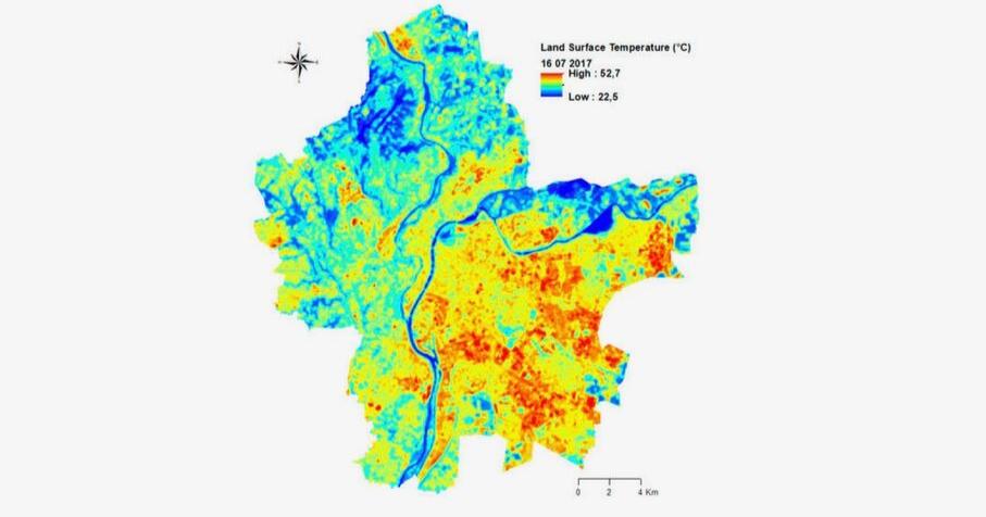 Carte des mesures de température au sol du Grand Lyon le 16 juillet 2017 (source : Florent Renard et coll., Remote Sensing, 2019).