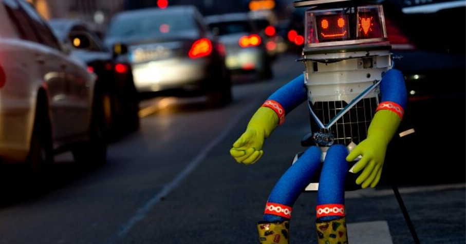 HitchBot - Photograph by Sven Hoppe - Picture-Alliance/DPA/AP